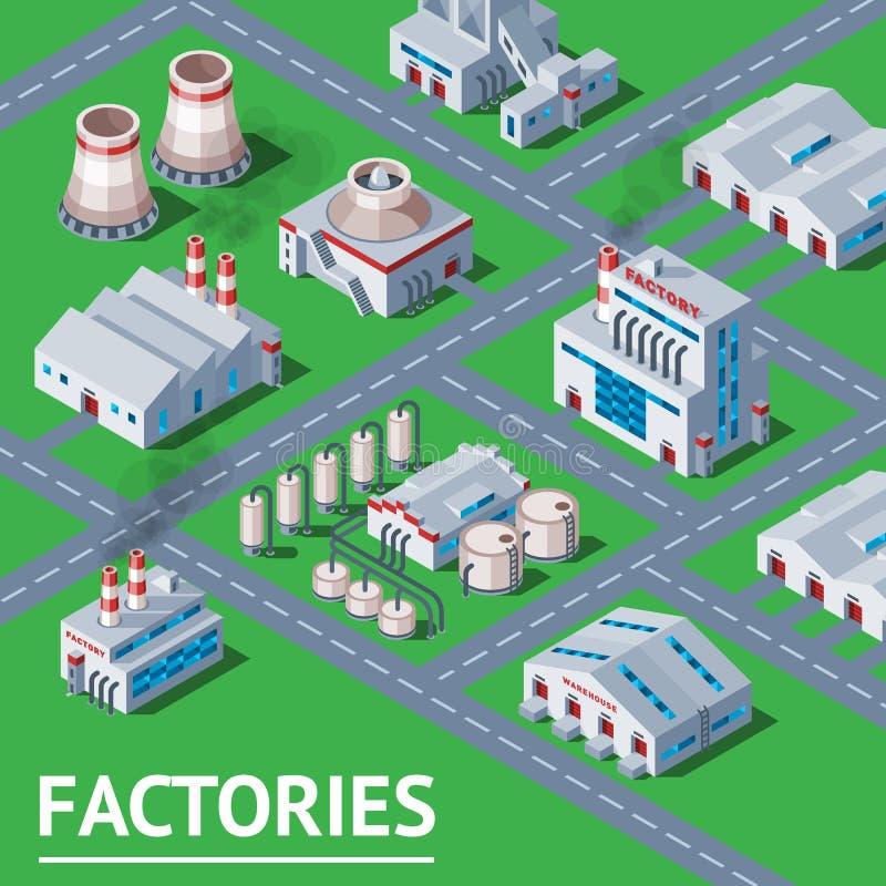 工厂传染媒介工厂厂房和产业制造与设计力量例证等量infographics 库存例证