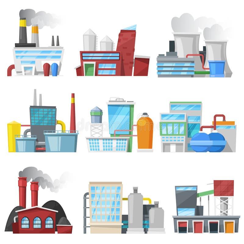 工厂传染媒介工厂厂房或制造和制造业建筑导致能量或电 皇族释放例证