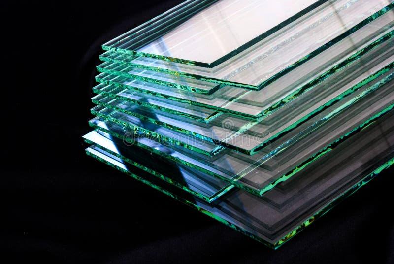 工厂制造的缓和清楚的浮法玻璃盘区板料按尺寸裁剪的 图库摄影