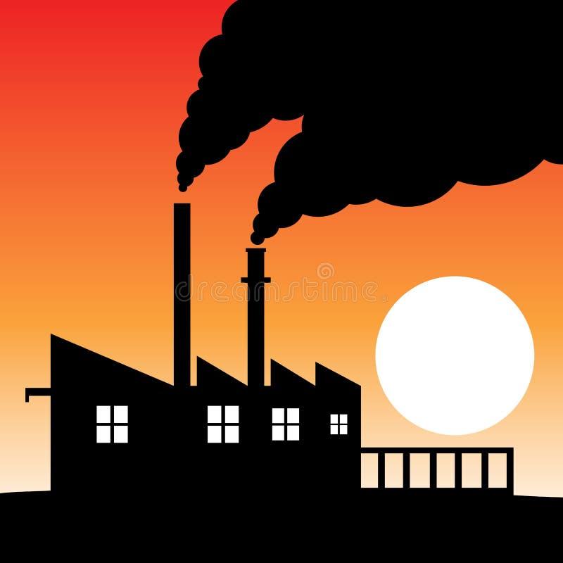 工厂剪影大气污染 皇族释放例证