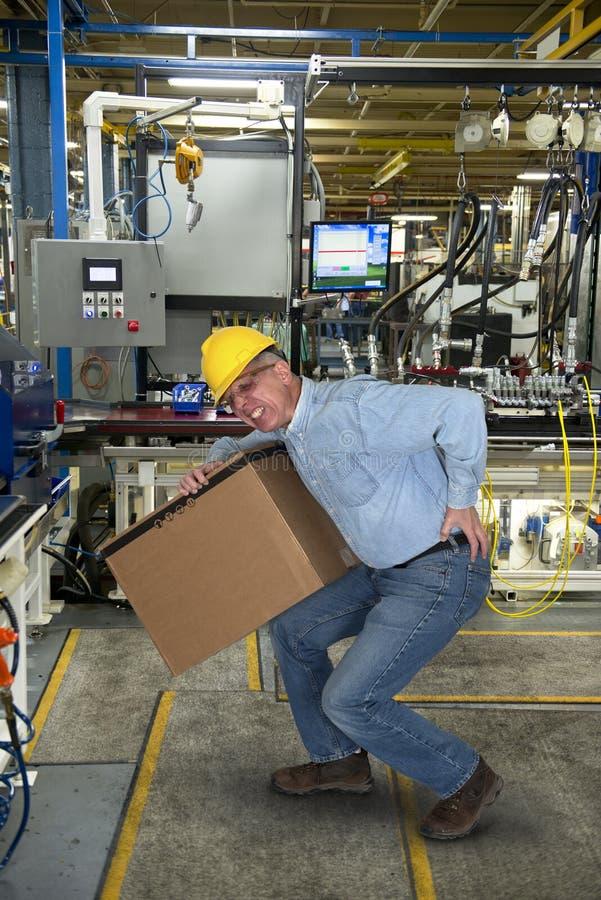 工厂劳工,背部受伤,安全 免版税库存图片
