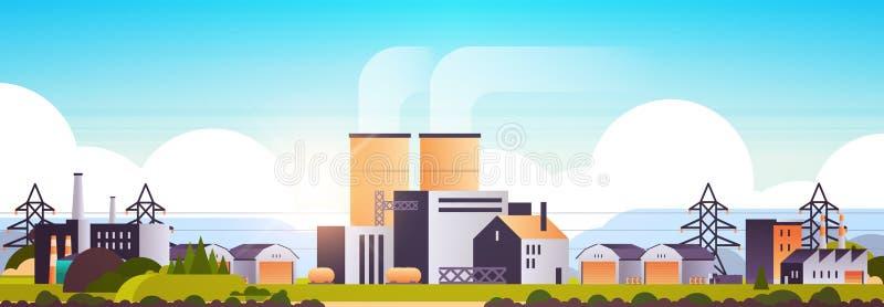 工厂化建筑带管道工业区厂房及烟囱电站生产工艺 皇族释放例证
