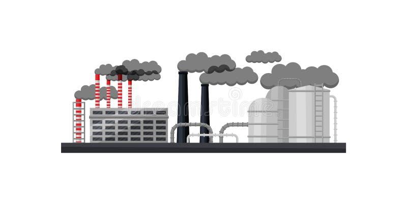 工厂厂房、抽烟的烟囱、金属管子和大储水池 制造业工厂 平的传染媒介设计 向量例证