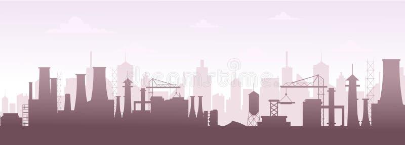 工厂厂房剪影地平线的传染媒介例证 现代城市风景,在平的样式的工厂污染 库存例证