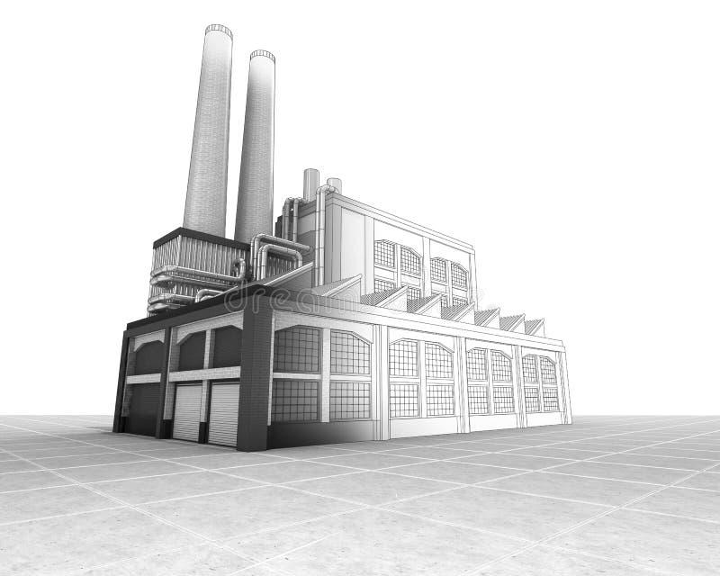 工厂厂房半导线剪影 皇族释放例证