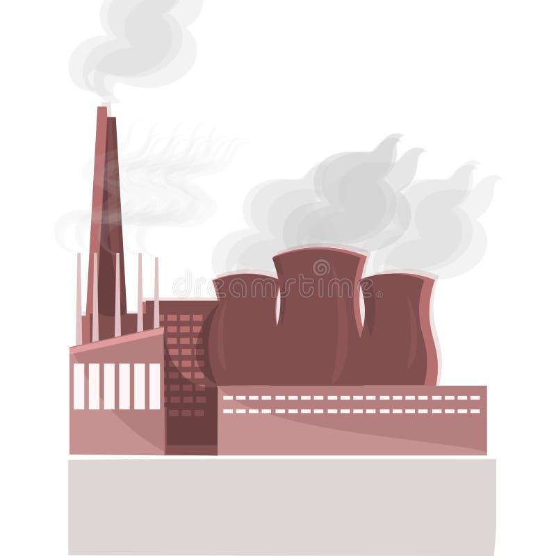 工厂厂房自然大气污染植物管子废物 石油钻井船具的剪影 平面 库存例证