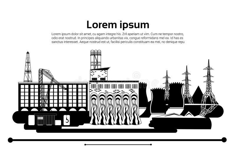 工厂厂房自然污染植物管子废物 一套石油钻井船具的剪影在白色背景的 钞票 平面 向量例证