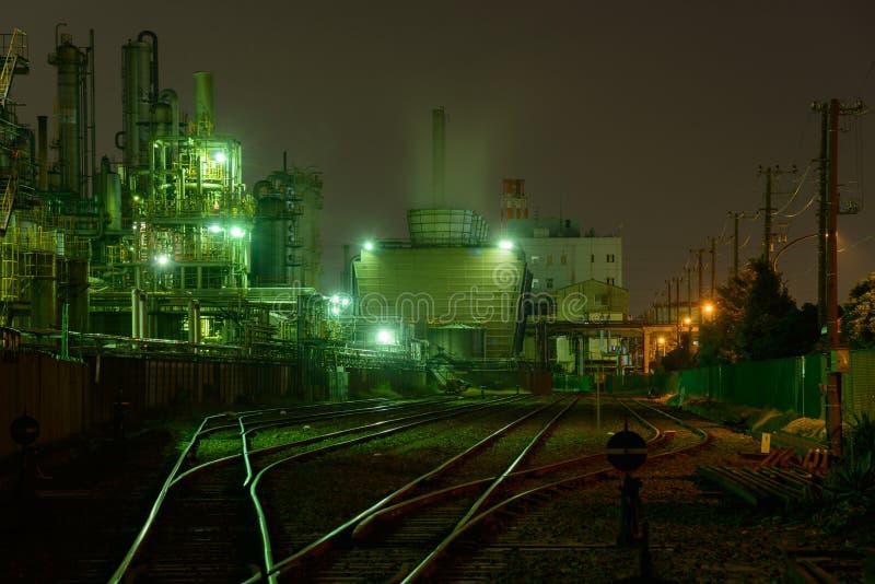 工厂夜场面  图库摄影