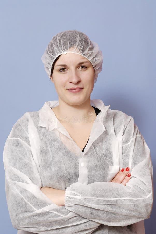 工厂女性食物工作者 免版税库存照片