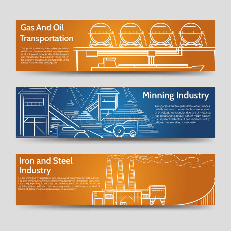 工厂工业风景水平的横幅 库存例证
