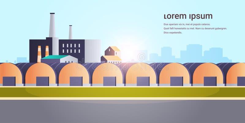 工厂建筑仓库挂着带管道和烟囱电站生产技术的工业区厂房 库存例证