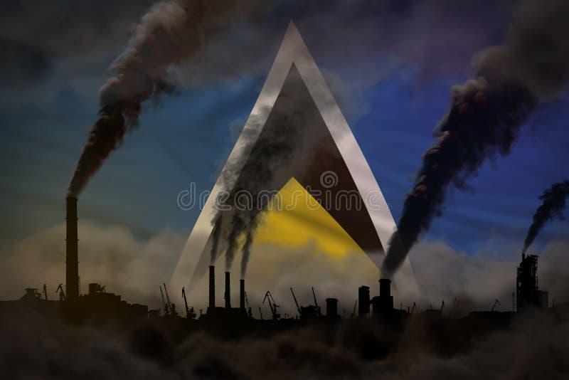 工厂烟囱浓烟在圣卢西亚旗子-全球性变暖概念,与地方的背景的您的文本的-工业3D 皇族释放例证