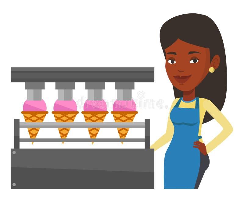 工厂的工作者生产冰淇凌 库存例证