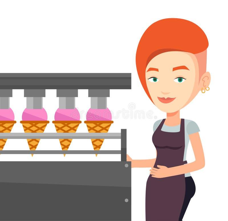 工厂的工作者生产冰淇凌 皇族释放例证