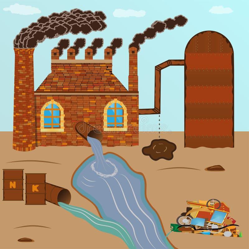 工厂砖抽管子,污染通过一个管子倾吐与 向量例证