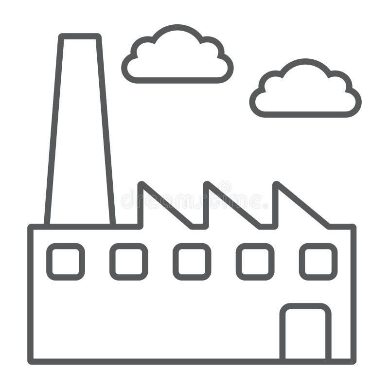 工厂稀薄的线象,环境和生产,植物标志,向量图形,在白色背景的一个线性样式 皇族释放例证