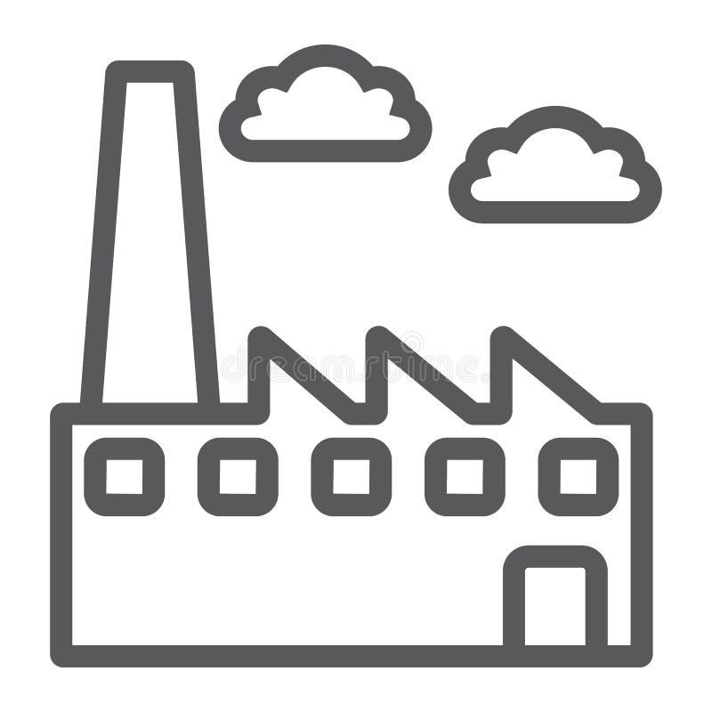 工厂线象,环境和生产,植物标志,向量图形,在白色背景的一个线性样式 皇族释放例证