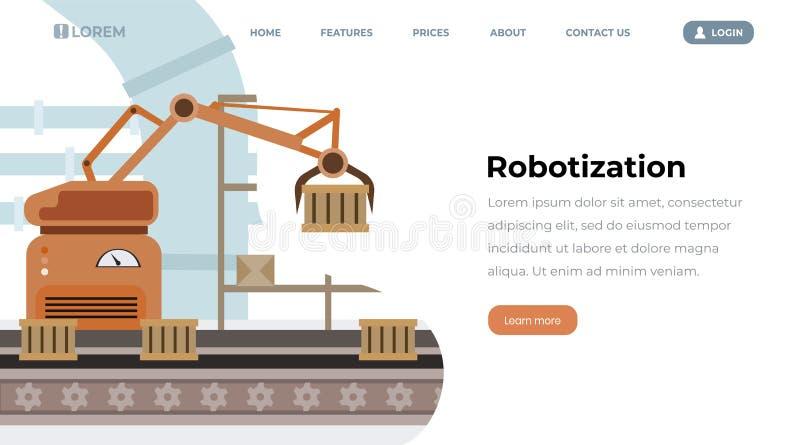 工厂设备自动化传染媒介着陆页 自动化的生产线,在传送带,机器人手的容器 向量例证