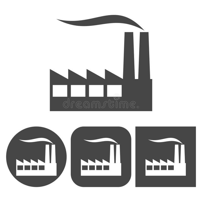 工厂象-被设置的传染媒介象 向量例证