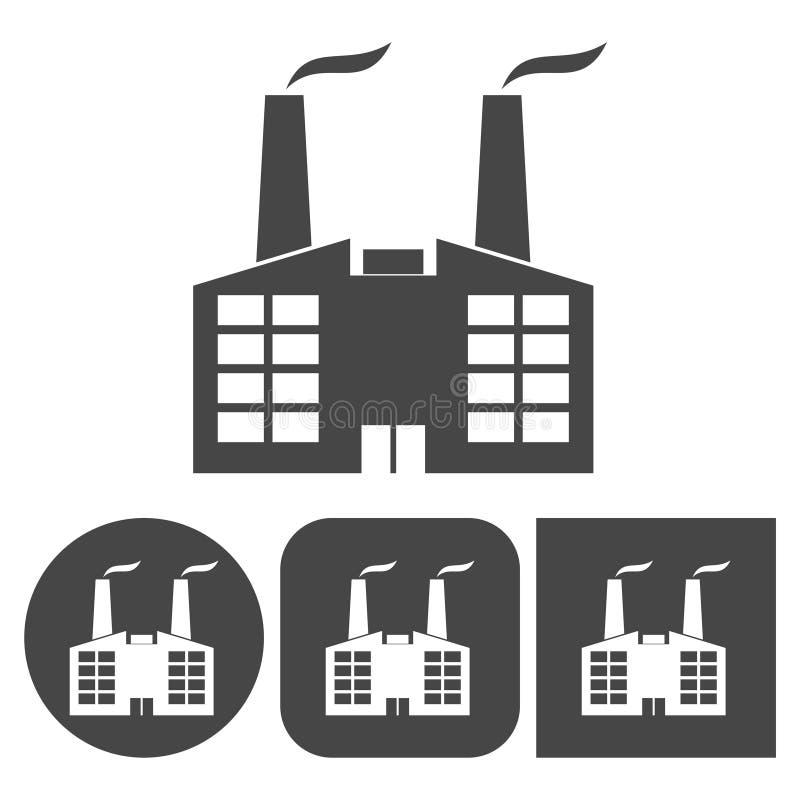 工厂象-被设置的传染媒介象 库存例证