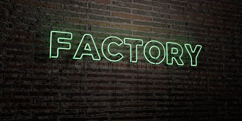 工厂-在砖墙背景的现实霓虹灯广告- 3D回报了皇族自由储蓄图象 皇族释放例证