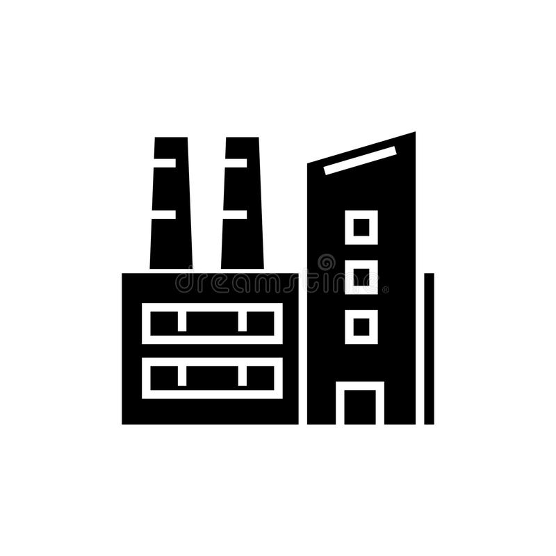 工厂-工厂设备象,传染媒介例证,在被隔绝的背景的黑标志 皇族释放例证