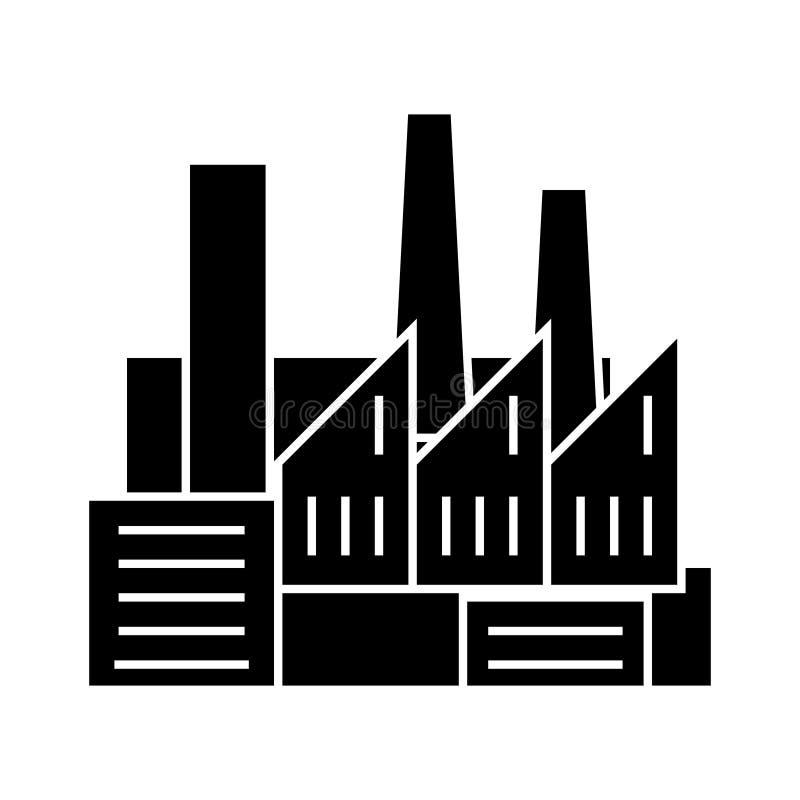 工厂-生产-有烟象的,传染媒介例证,黑标志管子 皇族释放例证