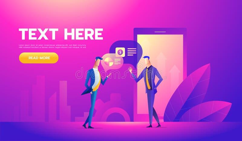 工友与字符的办公室概念 自由职业者概念,coworking的人民 商人的站立的雇员空间 向量例证