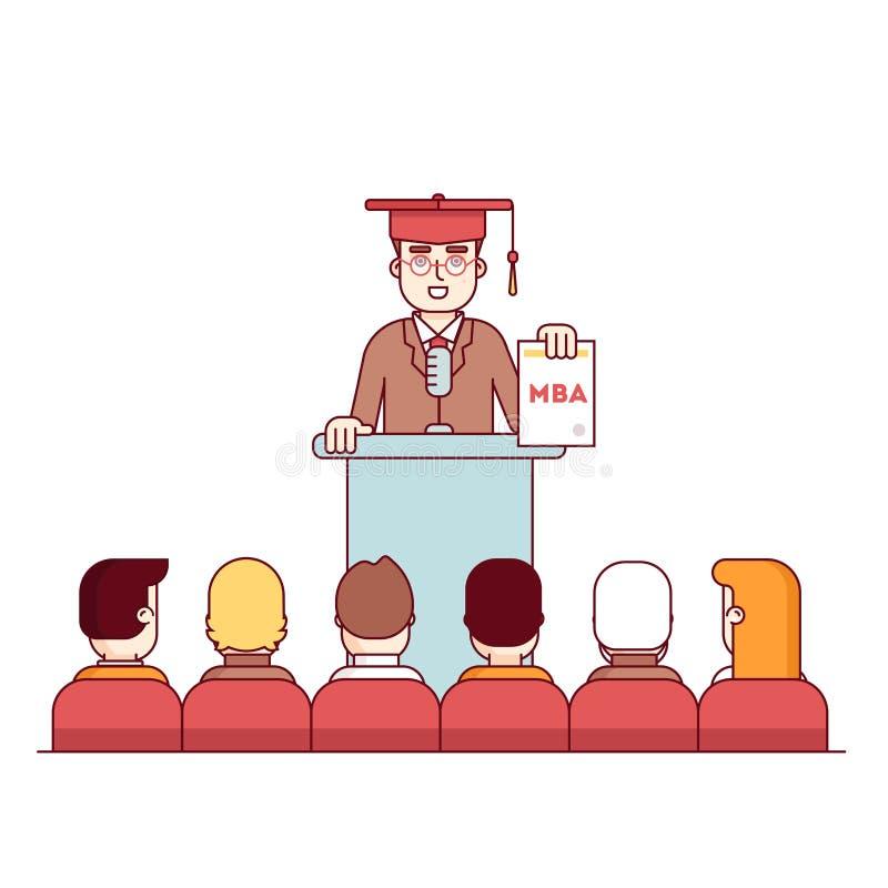 工商管理硕士学生毕业讲台讲话 库存例证