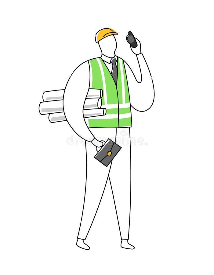 工头建造者建筑师工程师字符在白色隔绝的传染媒介例证 线概述平的设计样式 库存例证