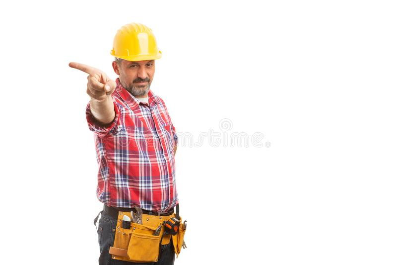 工头藏品手指作为出去姿态 免版税库存照片