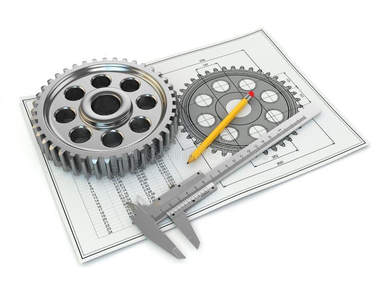 工程图。齿轮、长圆规、铅笔和草稿。 皇族释放例证