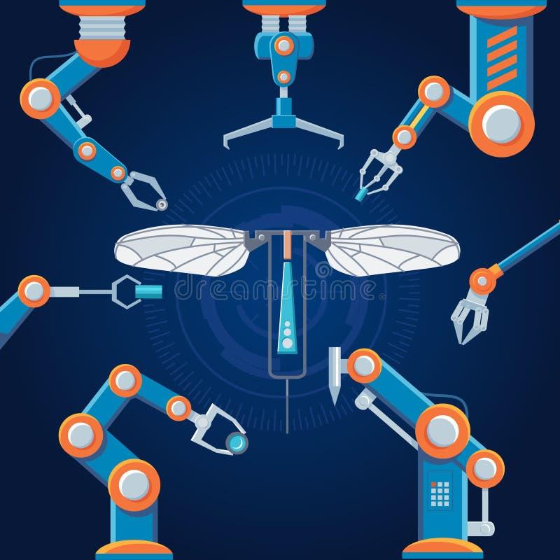 工程学制造业机器人集合 皇族释放例证