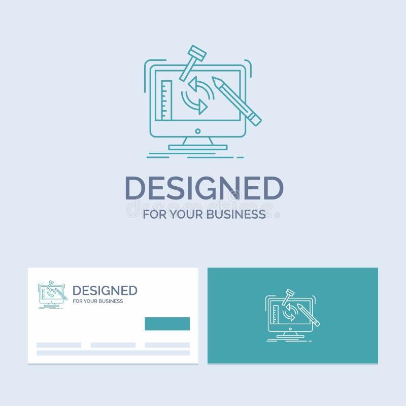 工程学,项目,工具,车间,处理企业商标线象标志为您的事务 绿松石名片与 向量例证