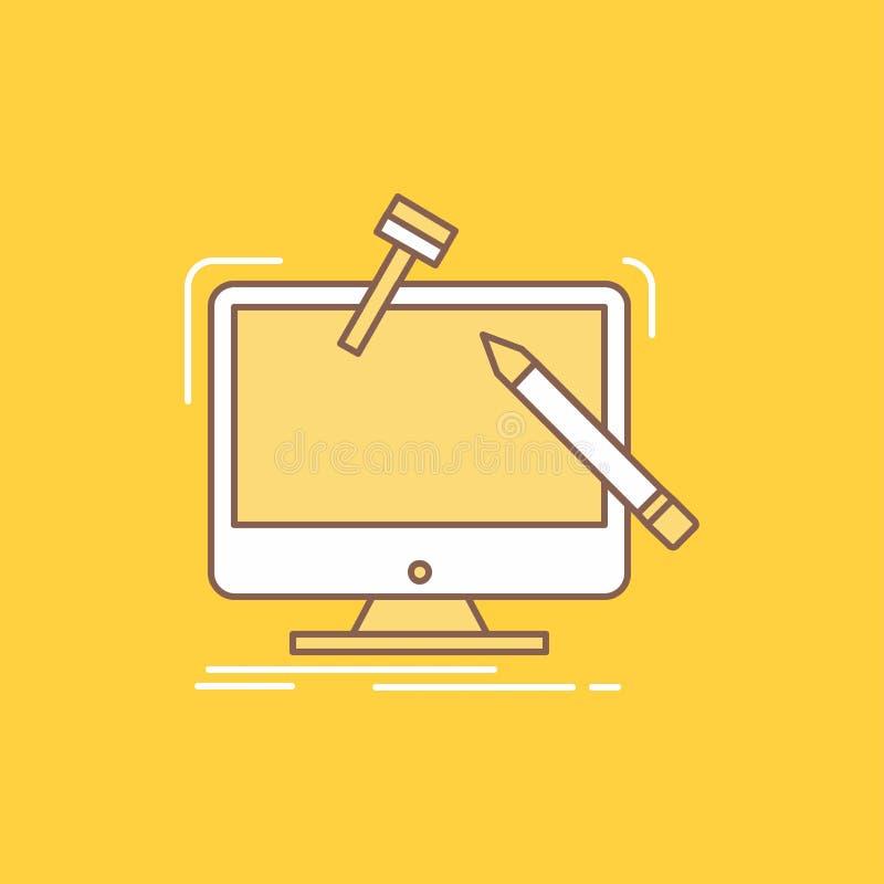 工程学,项目,工具,车间,处理平的线被填装的象 在黄色背景的美丽的商标按钮UI的和 向量例证