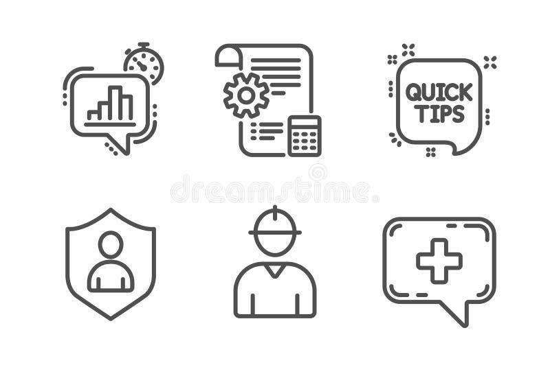 工程师、安全和设置计划象集合 统计定时器、快的技巧和医疗闲谈标志 ?? 向量例证