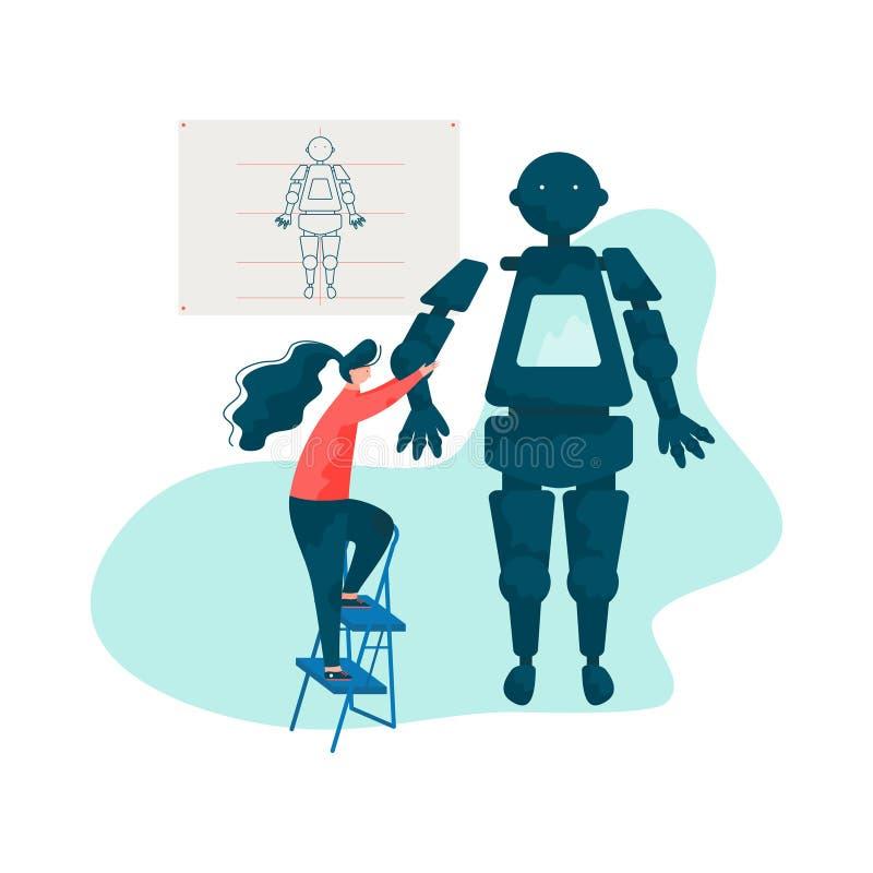 工程师定象机器人胳膊、机器人学硬件和软件工程师传染媒介例证 库存例证