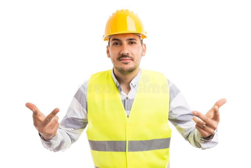 工程师建筑师或建造者做要求问题姿态 库存图片