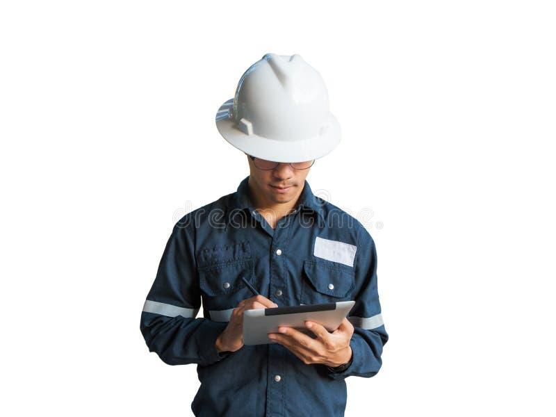 工程师或技术员白色盔甲,玻璃和蓝色工作的 库存照片