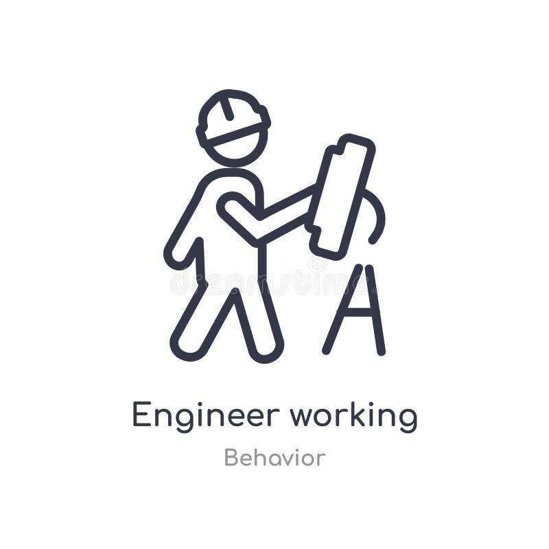 工程师运作的概述象 r 编辑可能稀薄冲程工程师工作 库存例证