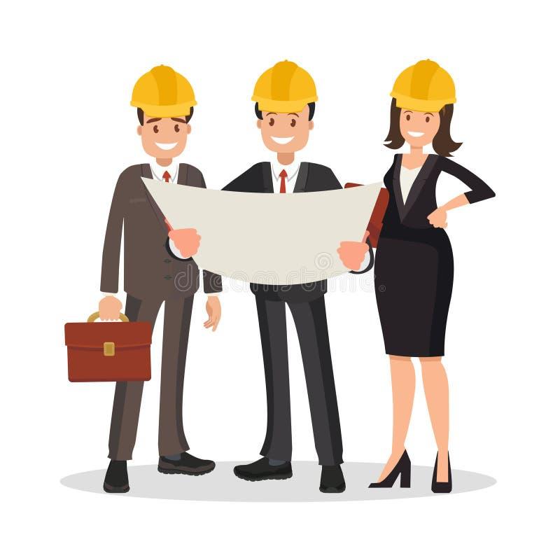 工程师顾客和承包商谈论项目 向量例证