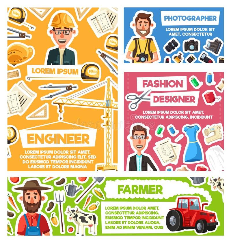 工程师,摄影师,农夫,时尚编辑 库存例证