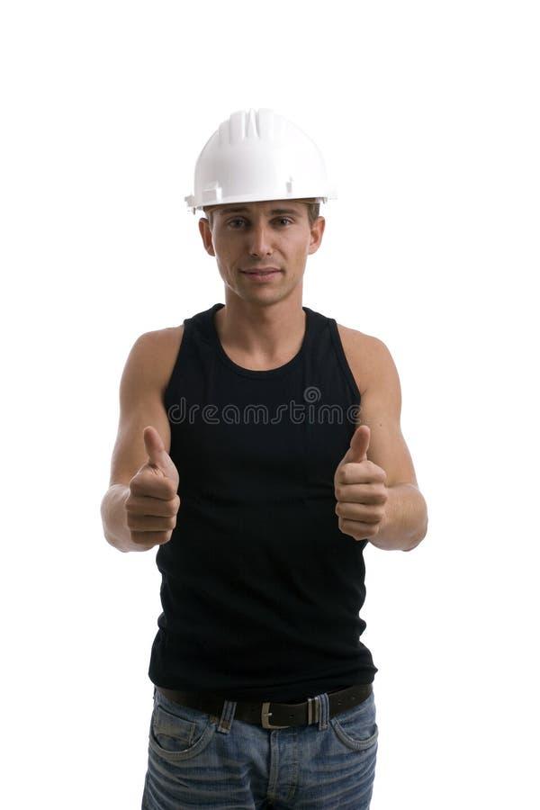 工程师expresing的阳年轻人 图库摄影