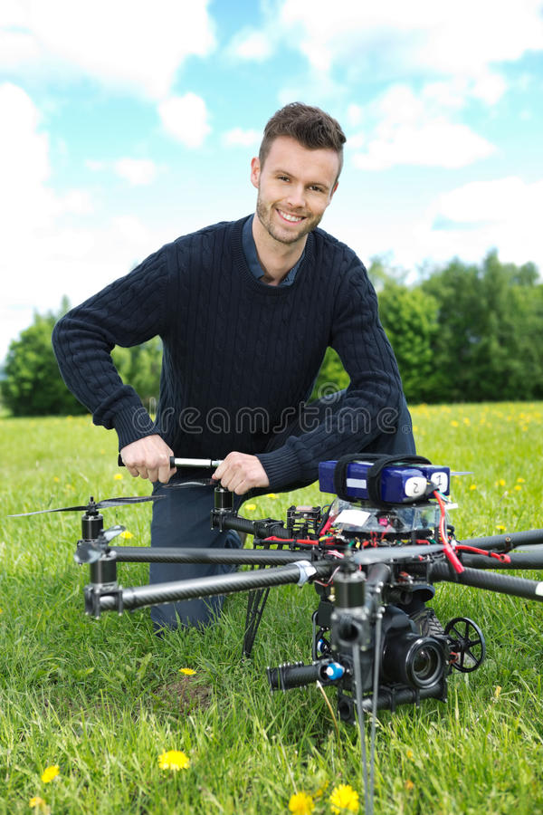 工程师Octocopter定象推进器  库存图片