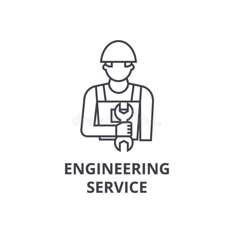 工程服务传染媒介线象,标志,在背景,编辑可能的冲程的例证 向量例证