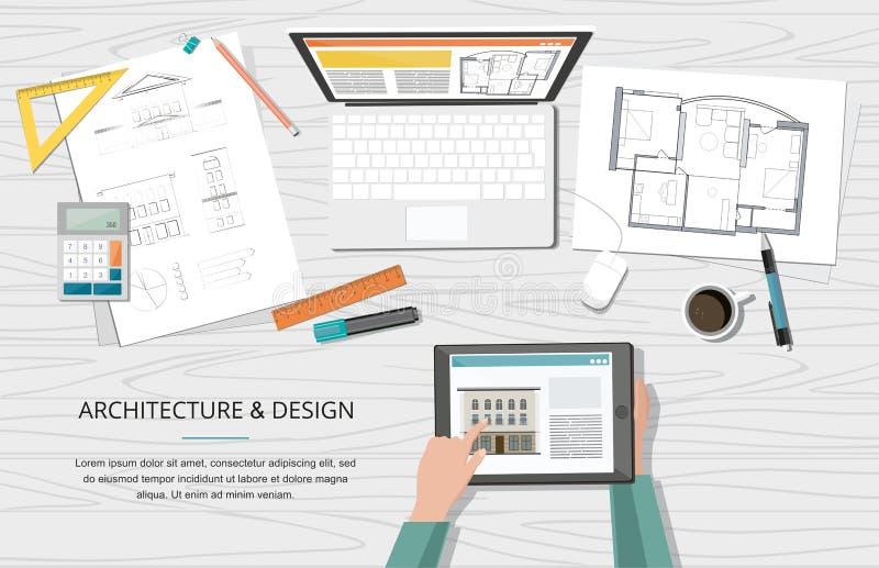 工程项目建筑师与工具、膝上型计算机和笔记本的房子计划 工作场所 背景砖建筑塔 皇族释放例证