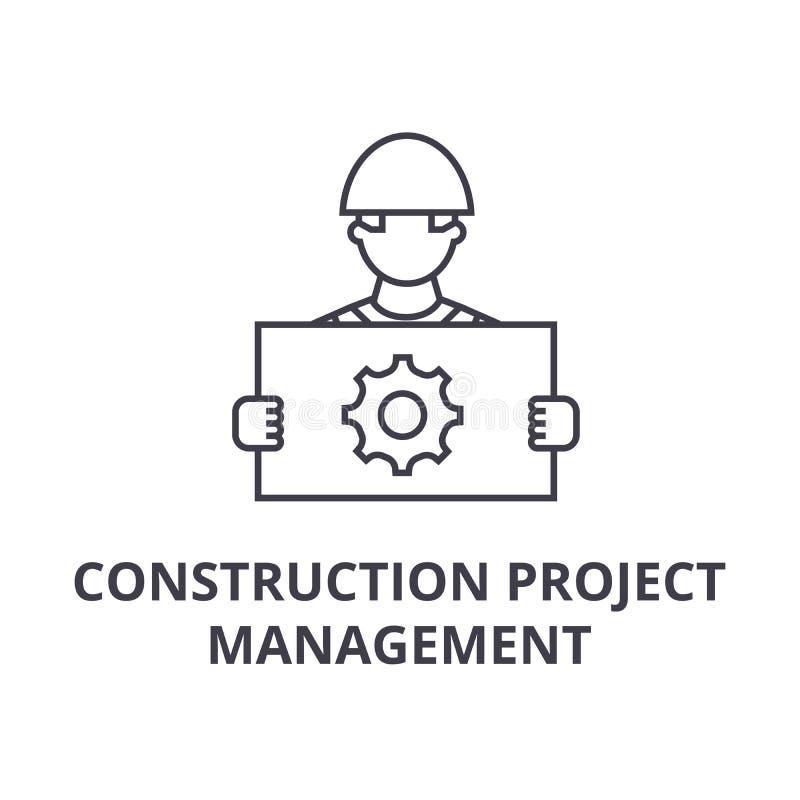 工程项目管理传染媒介线象,标志,在背景,编辑可能的冲程的例证 皇族释放例证