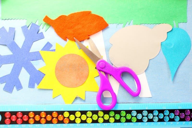 工艺供应工具为孩子学校论文工艺剪 库存照片
