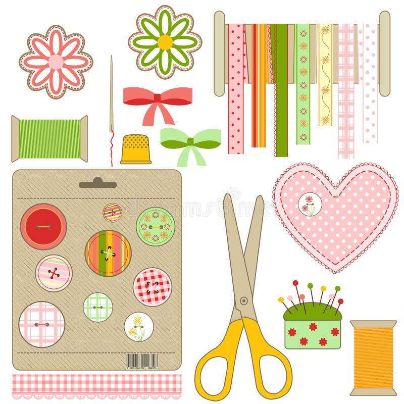 工艺刺绣用品集 向量例证