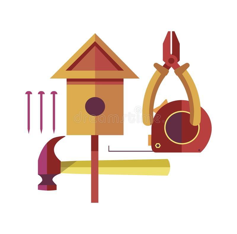工艺品由与被设置的特定工具的木头制成 向量例证